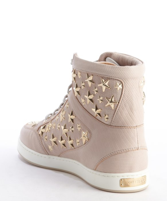 ff9ce52e1fde ... where to buy lyst jimmy choo rose star studded leather high top tokyo  sneakers in pink