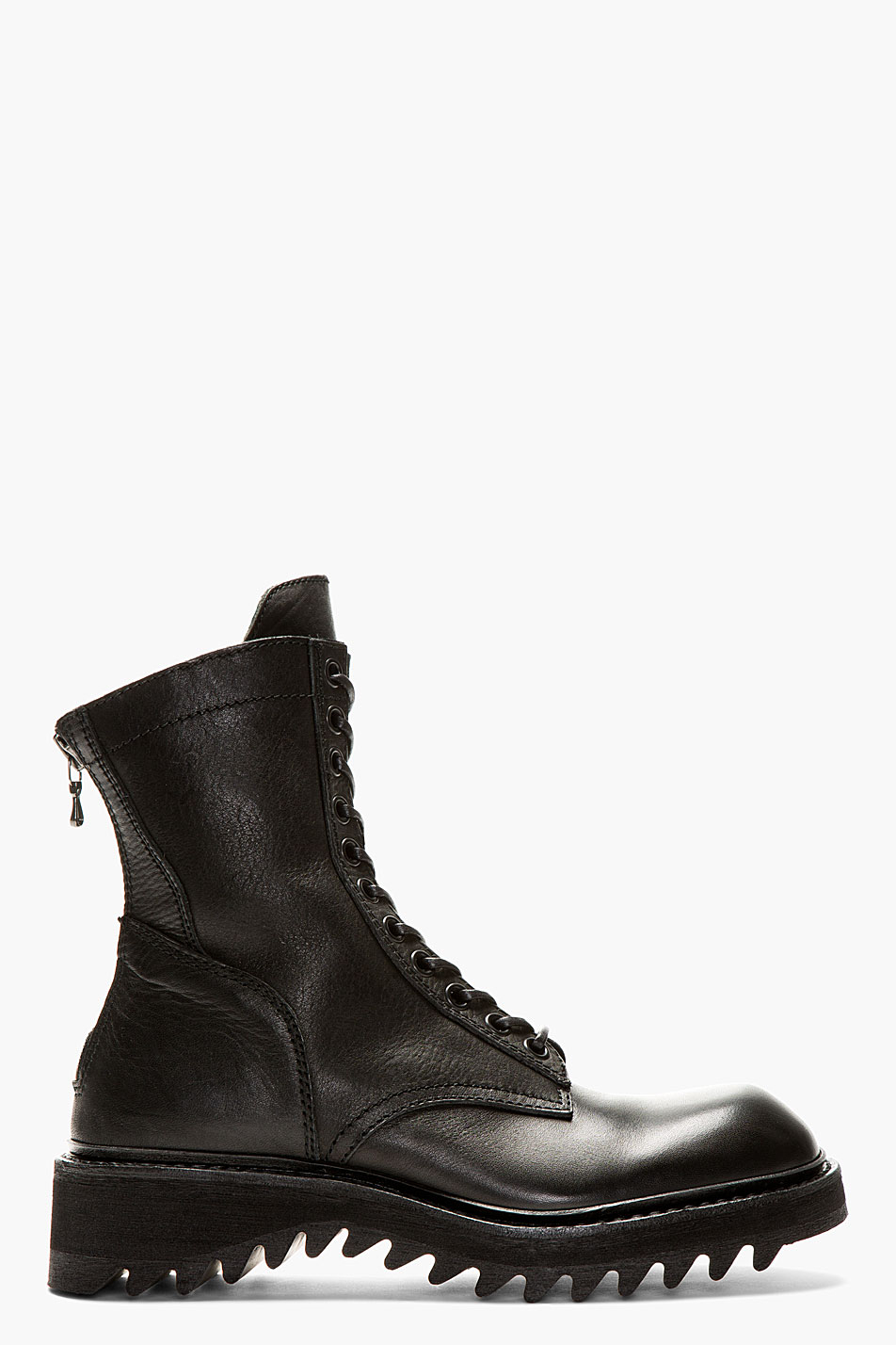 Julius Black Leather Zipped Combat Boots In Black For Men