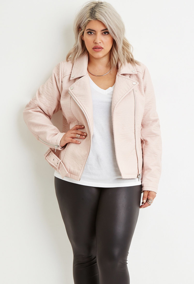 Forever 21 Plus Size Faux Leather Moto Jacket in Pink | Lyst