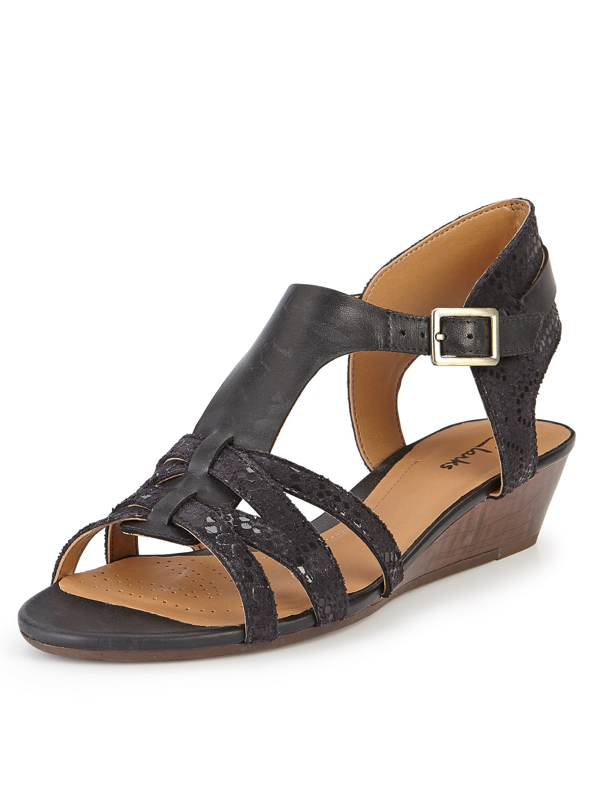 Clarks Playful Club Low Wedge Sandals In Black Black
