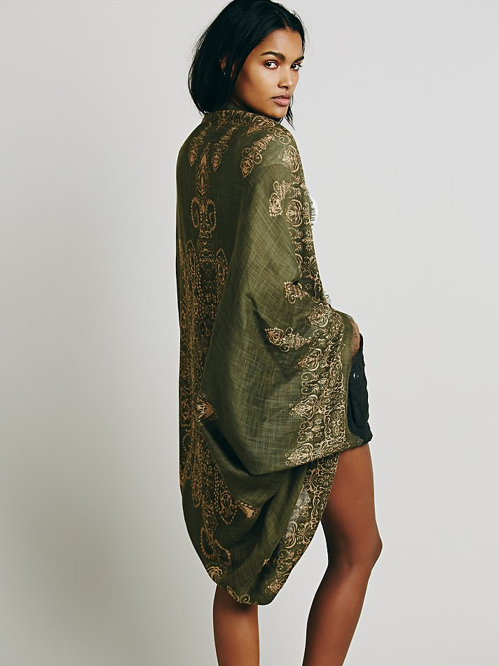 Olive green kimono MIXJ0ZK