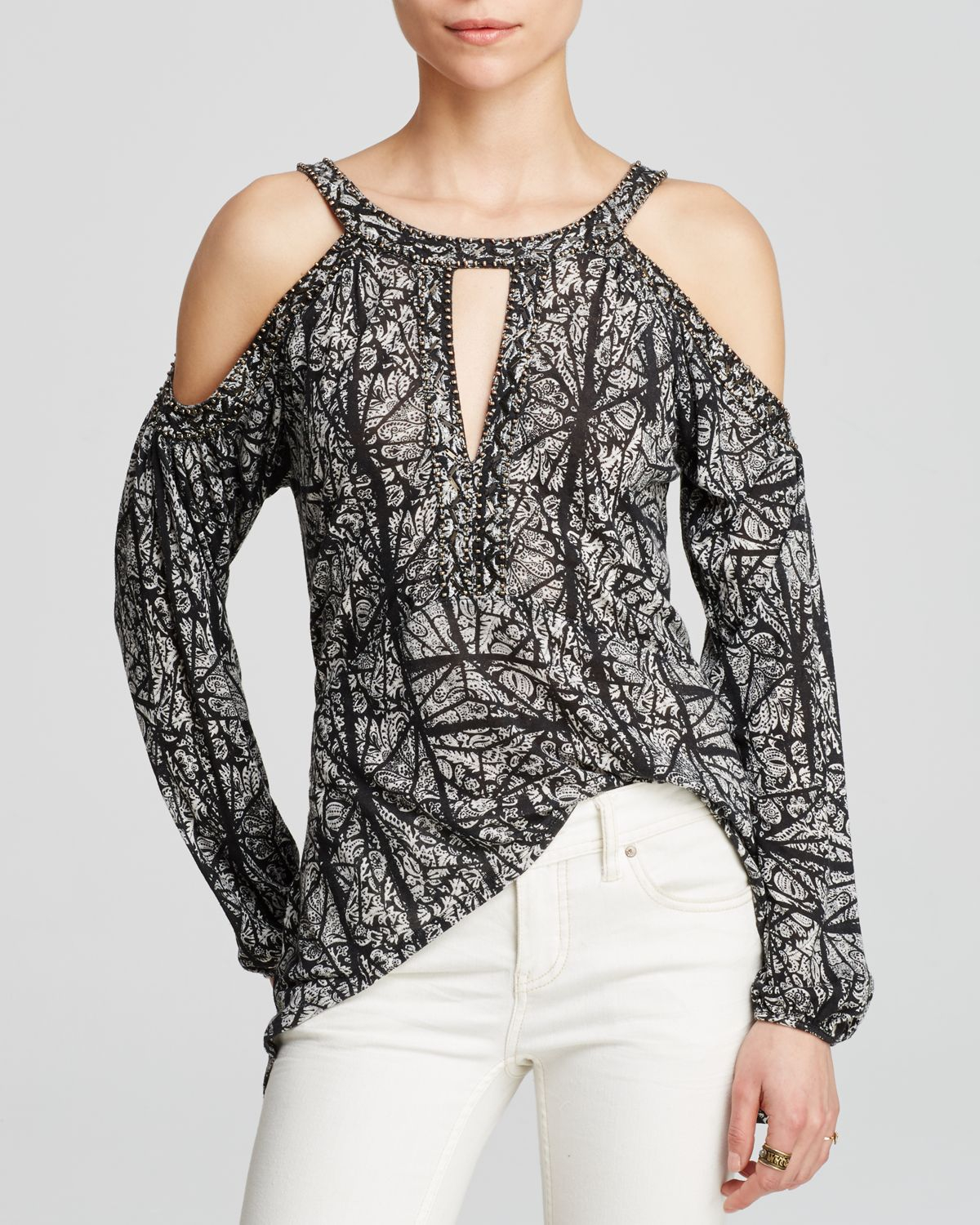 dd7492d69c1ca Free People Good Morning Cold Shoulder Top in Black - Lyst
