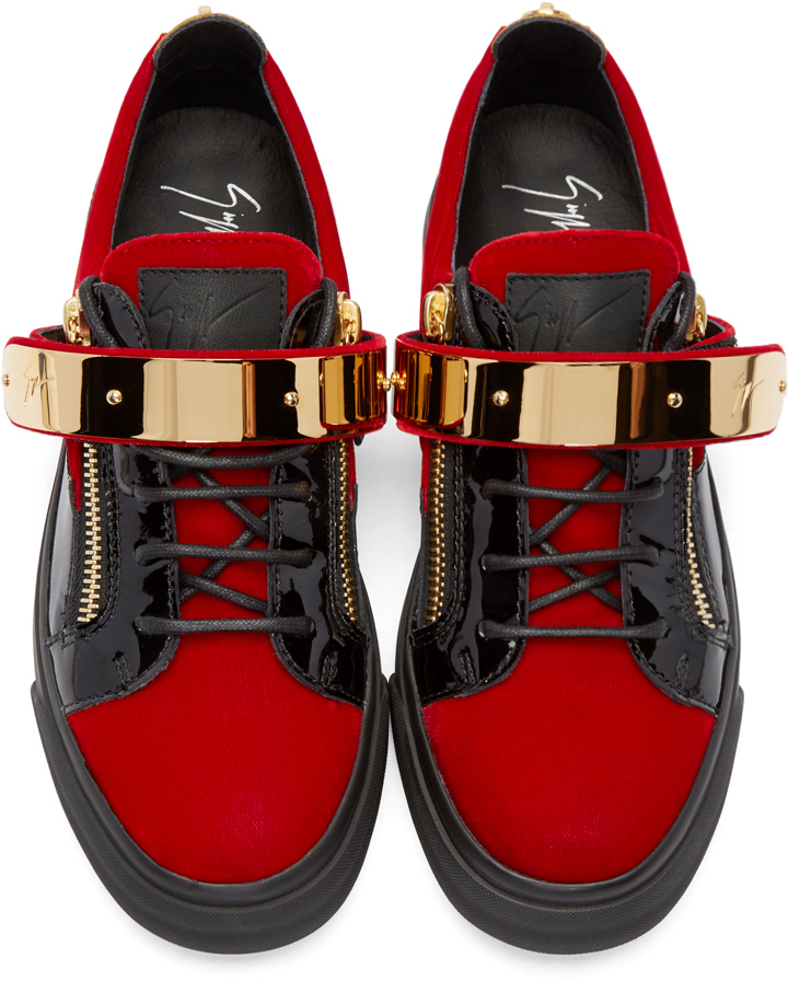 Giuseppe zanotti Ssense Exclusive Red Velour London Low ...