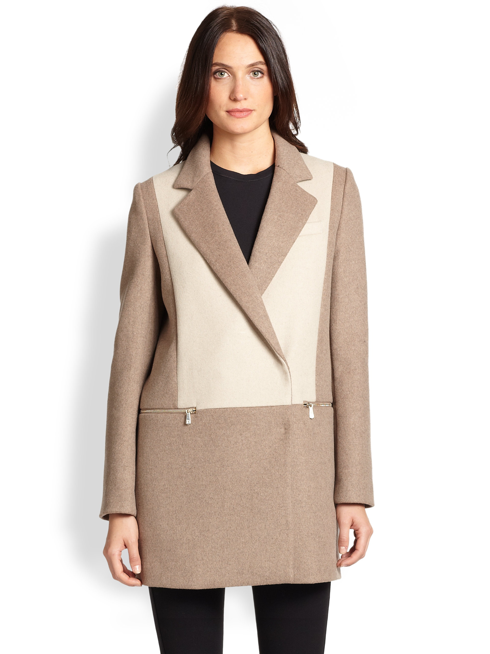 Dl2 by dawn levy Lila Two-Tone Coat in Beige (SAHARA SAND ...