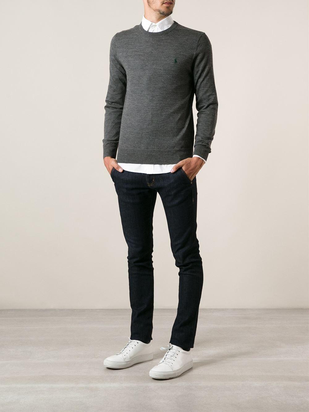 polo ralph lauren slim fit crew neck sweater in gray for men grey. Black Bedroom Furniture Sets. Home Design Ideas