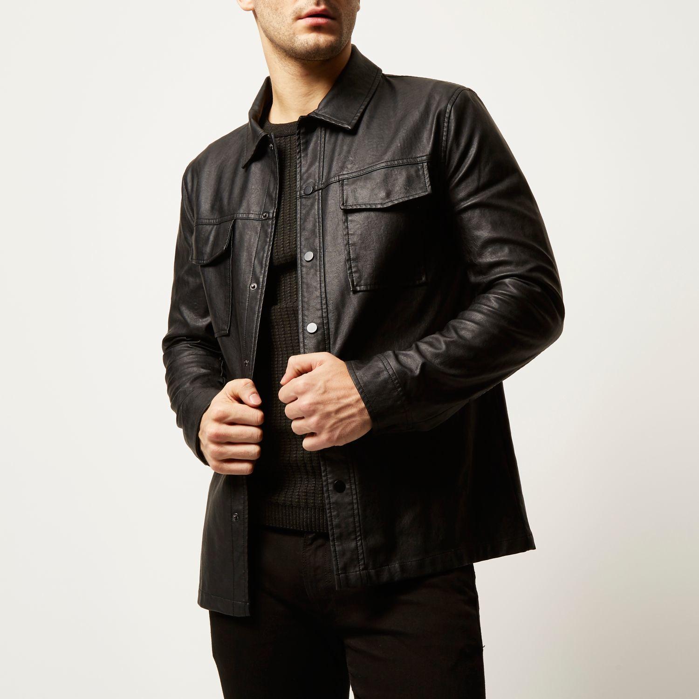 Black leather look jackets