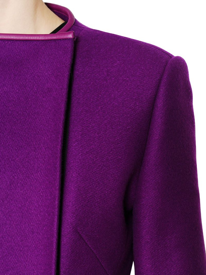 David koma Wool Coat with Nappa Leather Trim in Purple | Lyst