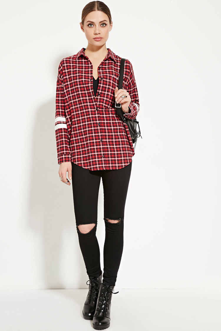 Forever 21 varsity striped flannel shirt in red lyst for Flannel shirts for womens forever 21
