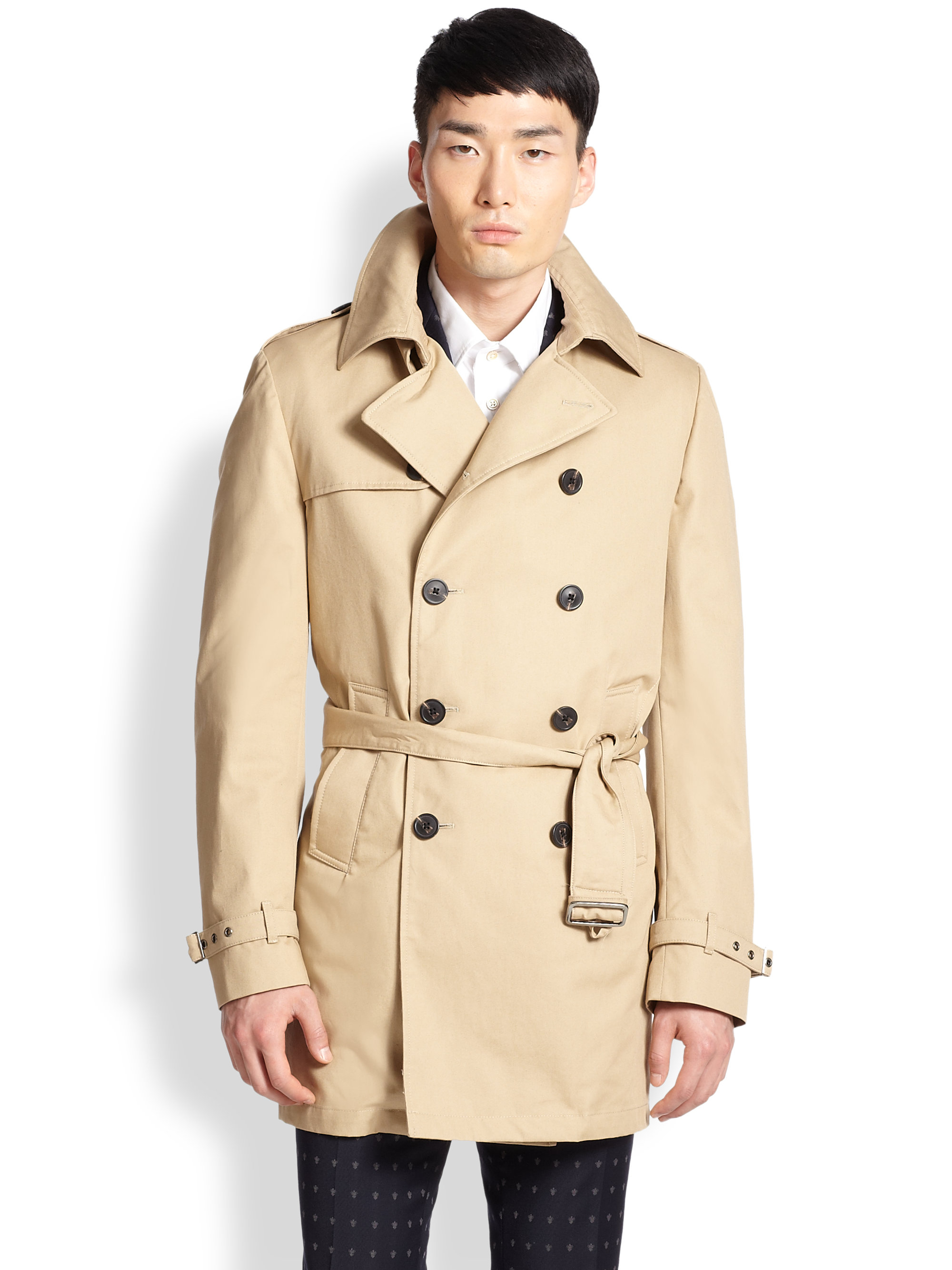 feef75ecb0fe Lyst - Atelier Scotch Belted Double-Breasted Cotton Trenchcoat in ...