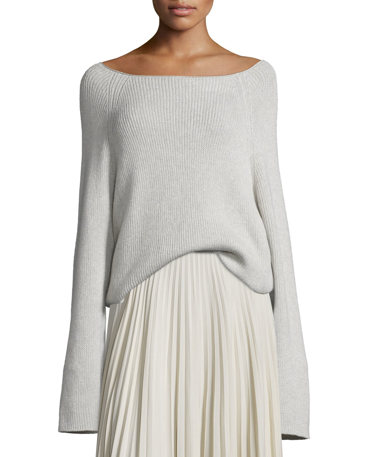 Helmut lang Cashmere-blend Ribbed Pullover Sweater in Natural | Lyst