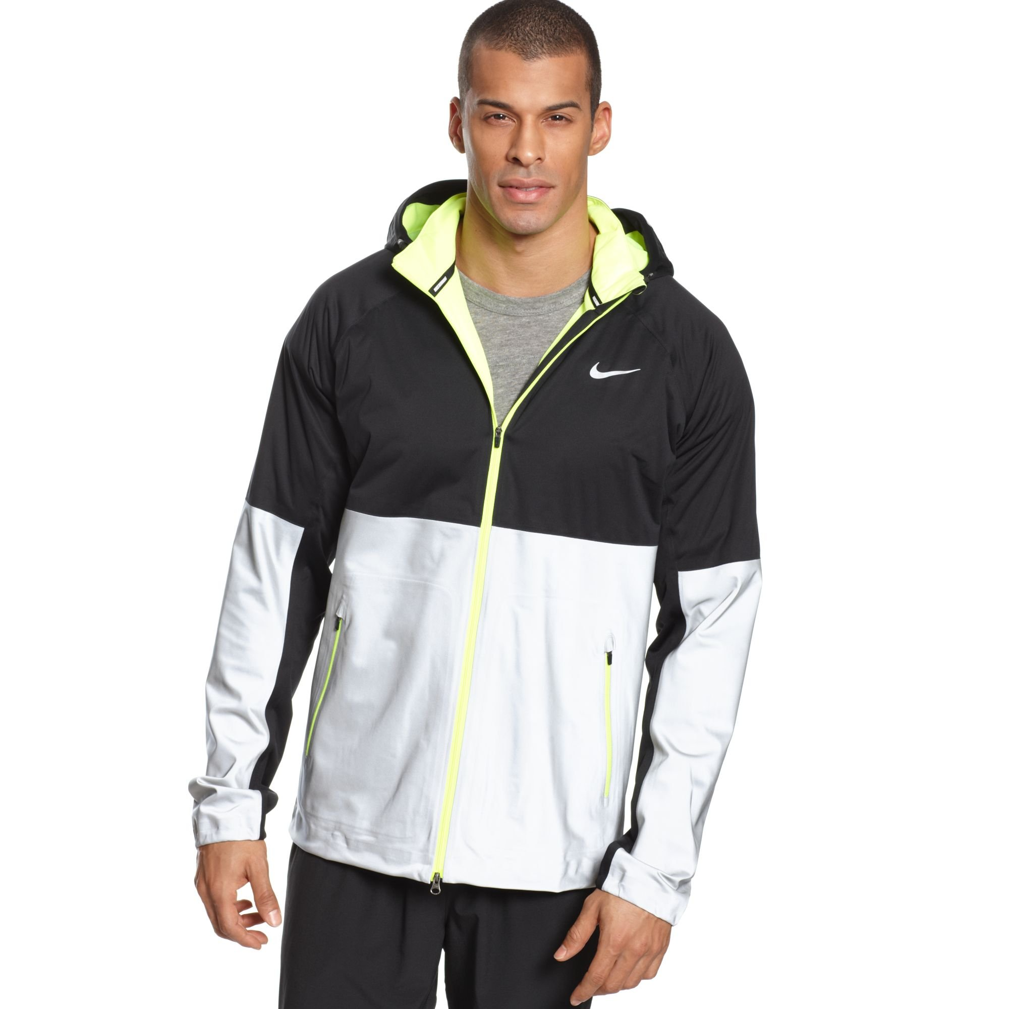 5f4338b133eb Lyst - Nike Shield Flash Hooded Running Jacket in Black for Men