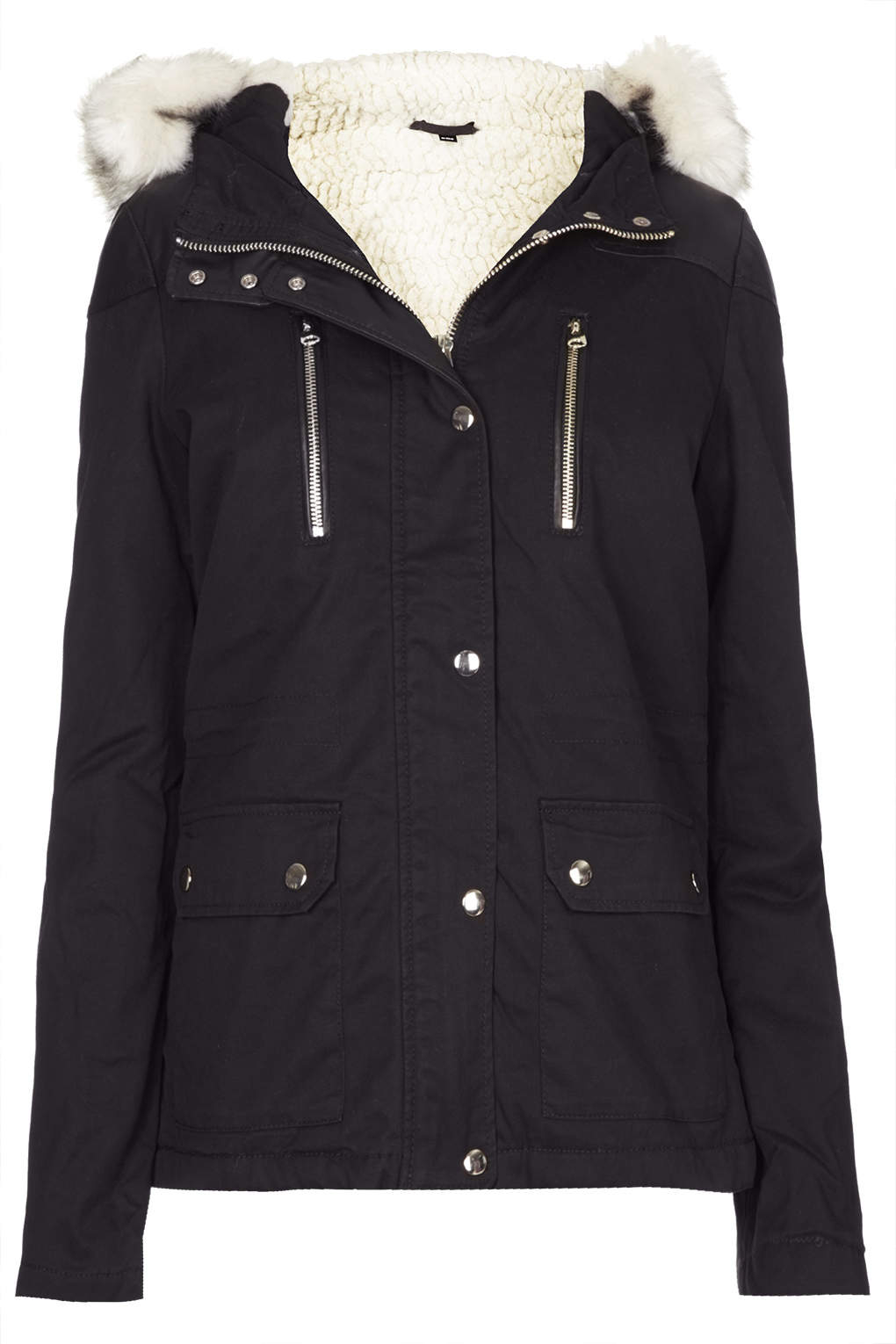 Topshop Short Parka Jacket in Black | Lyst