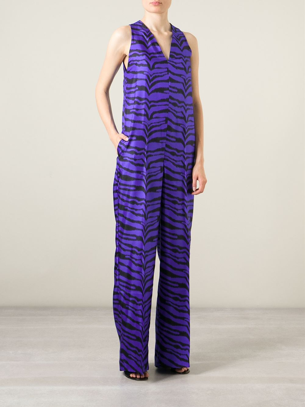 4ee23d5c7531 Lyst - Emanuel Ungaro Zebra Print Jumpsuit in Blue