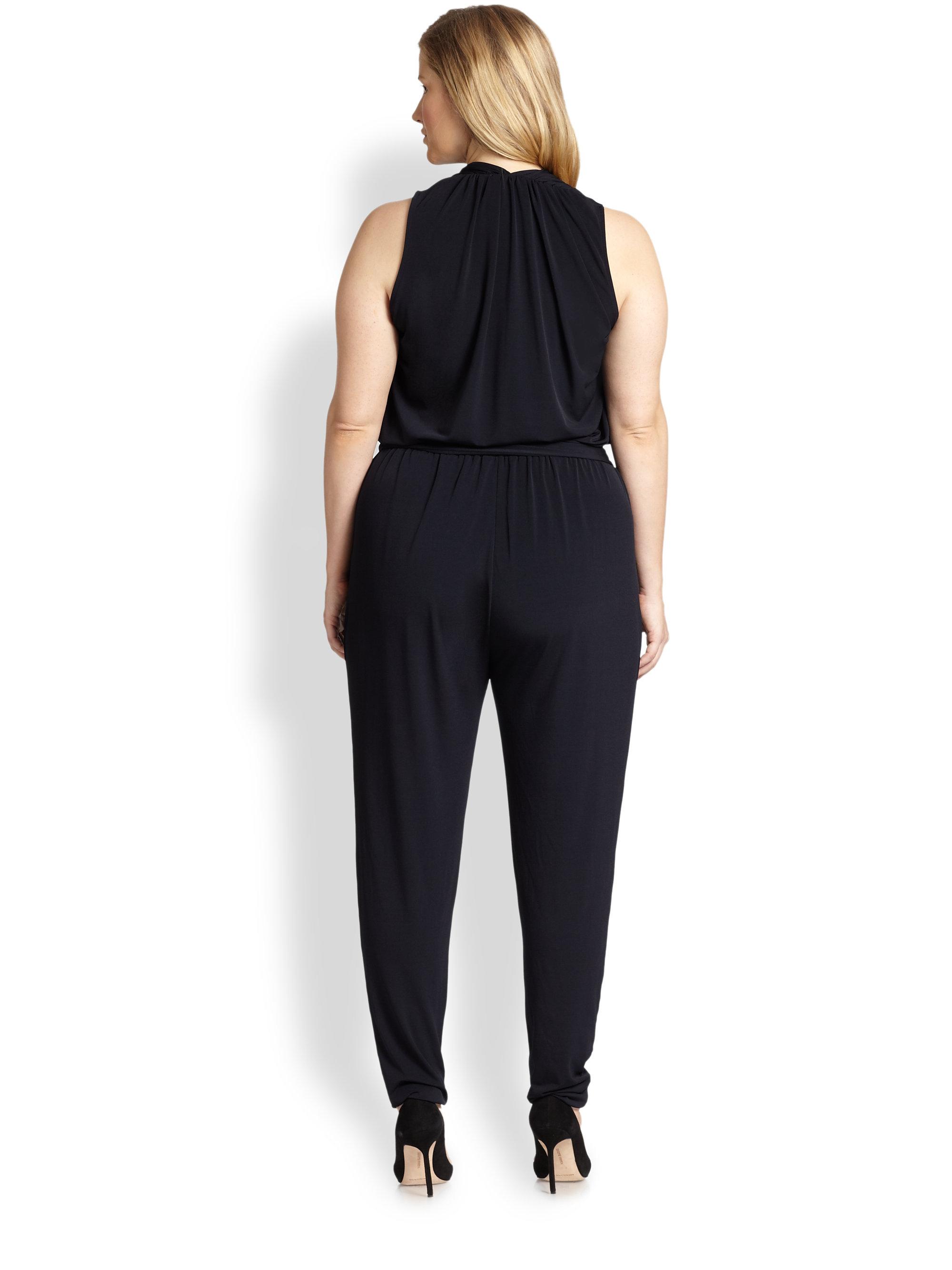 michael michael kors sleeveless selfbelt jumpsuit in black navy lyst. Black Bedroom Furniture Sets. Home Design Ideas