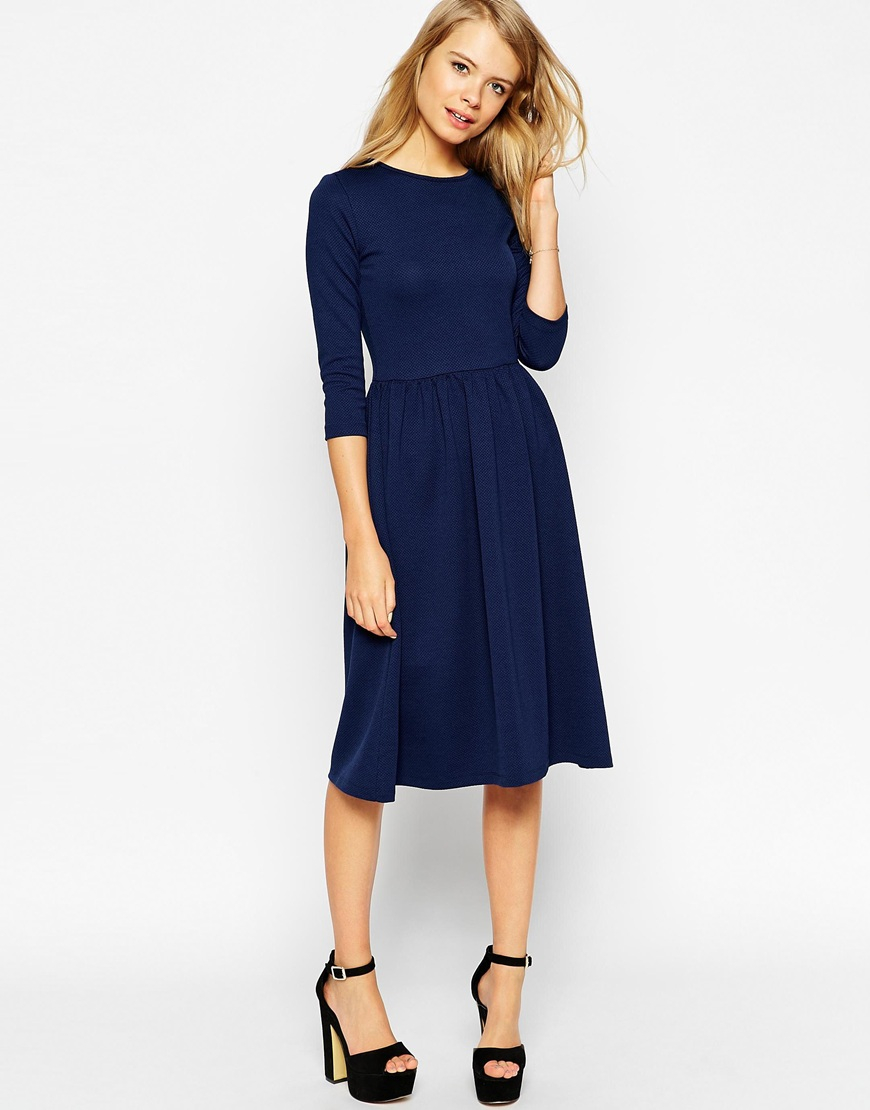 d0e622133483 ASOS Midi Skater Dress In Texture With 3/4 Sleeves in Blue - Lyst