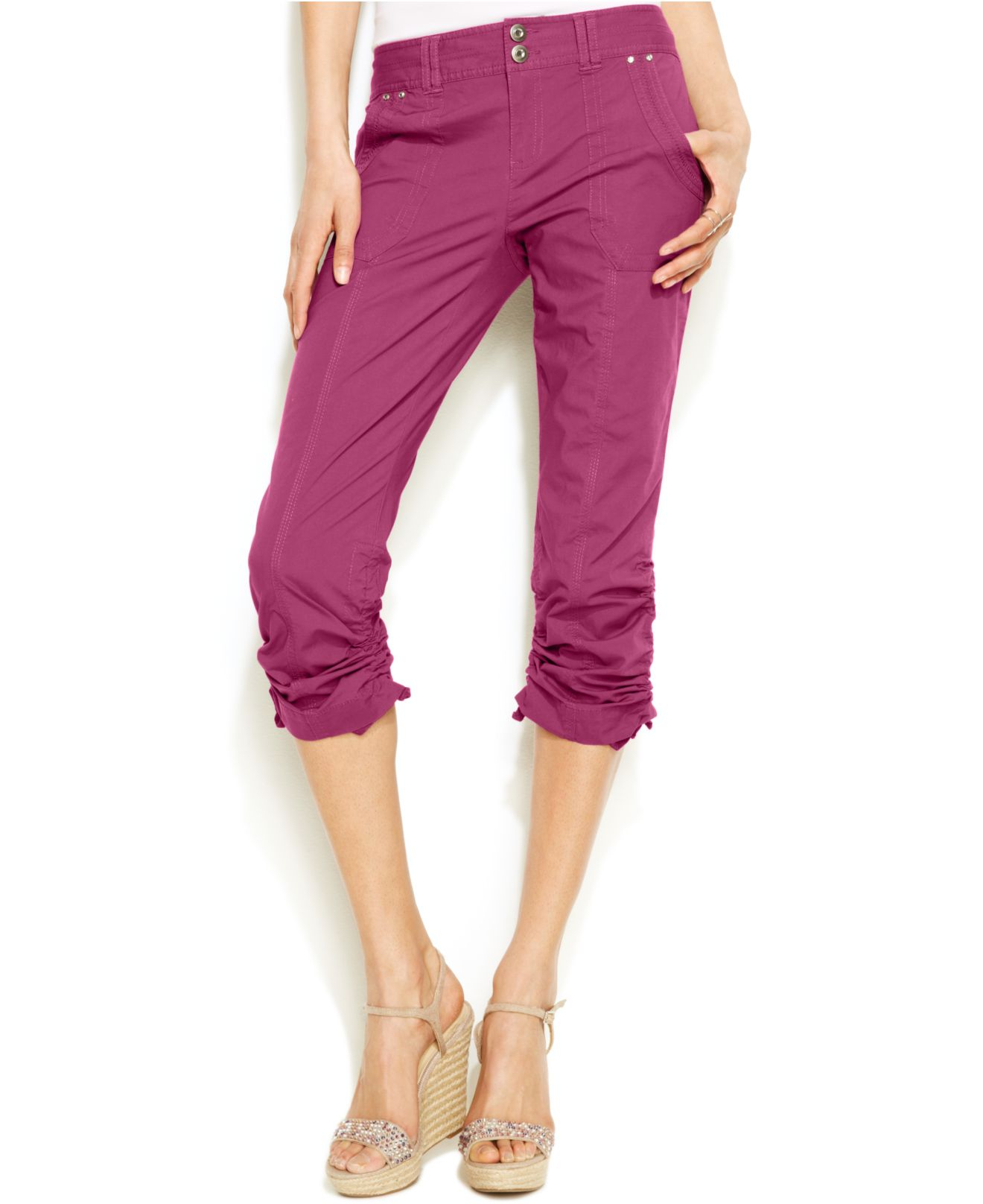 Inc International Concepts Ruched Capri Pants In Pink Lyst