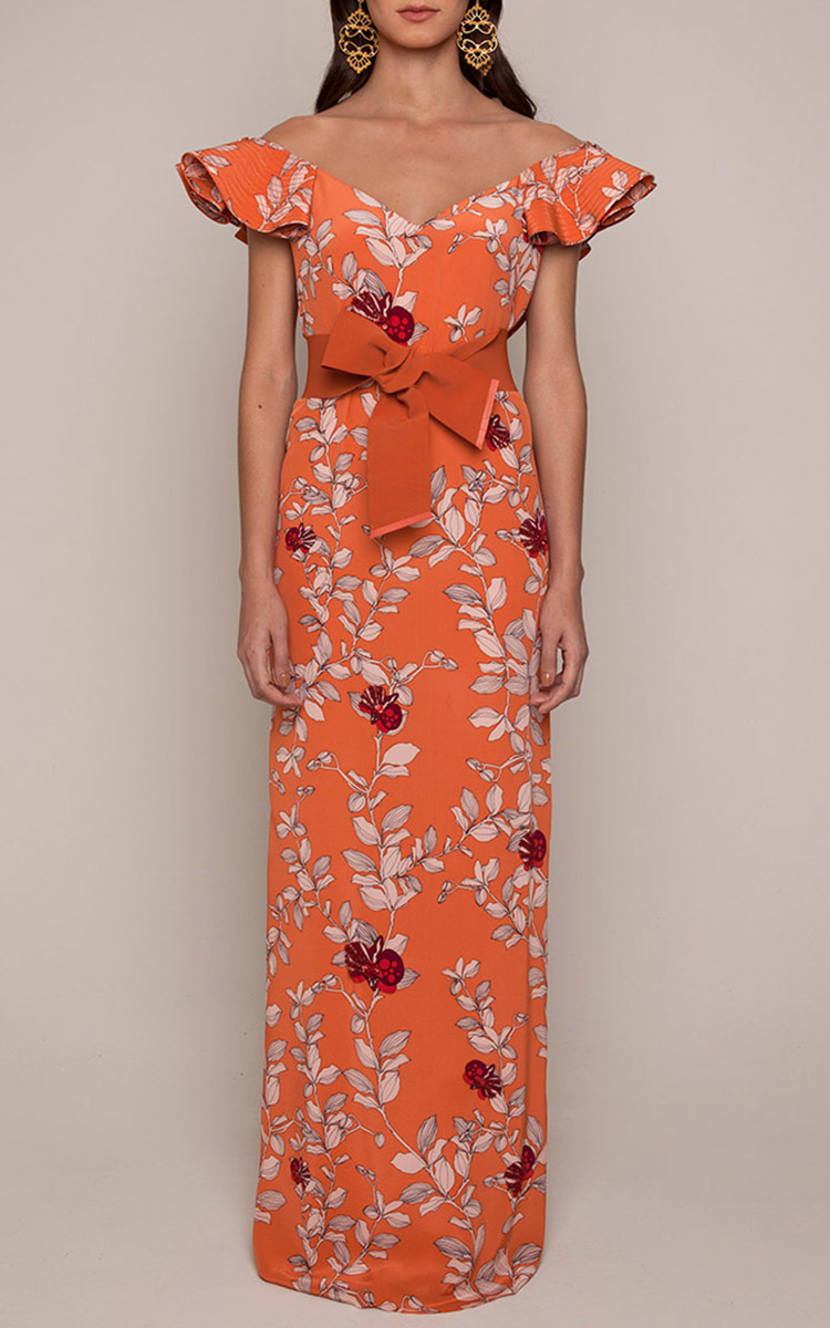 Lyst Johanna Ortiz Dahlia Embellished Dress In Orange