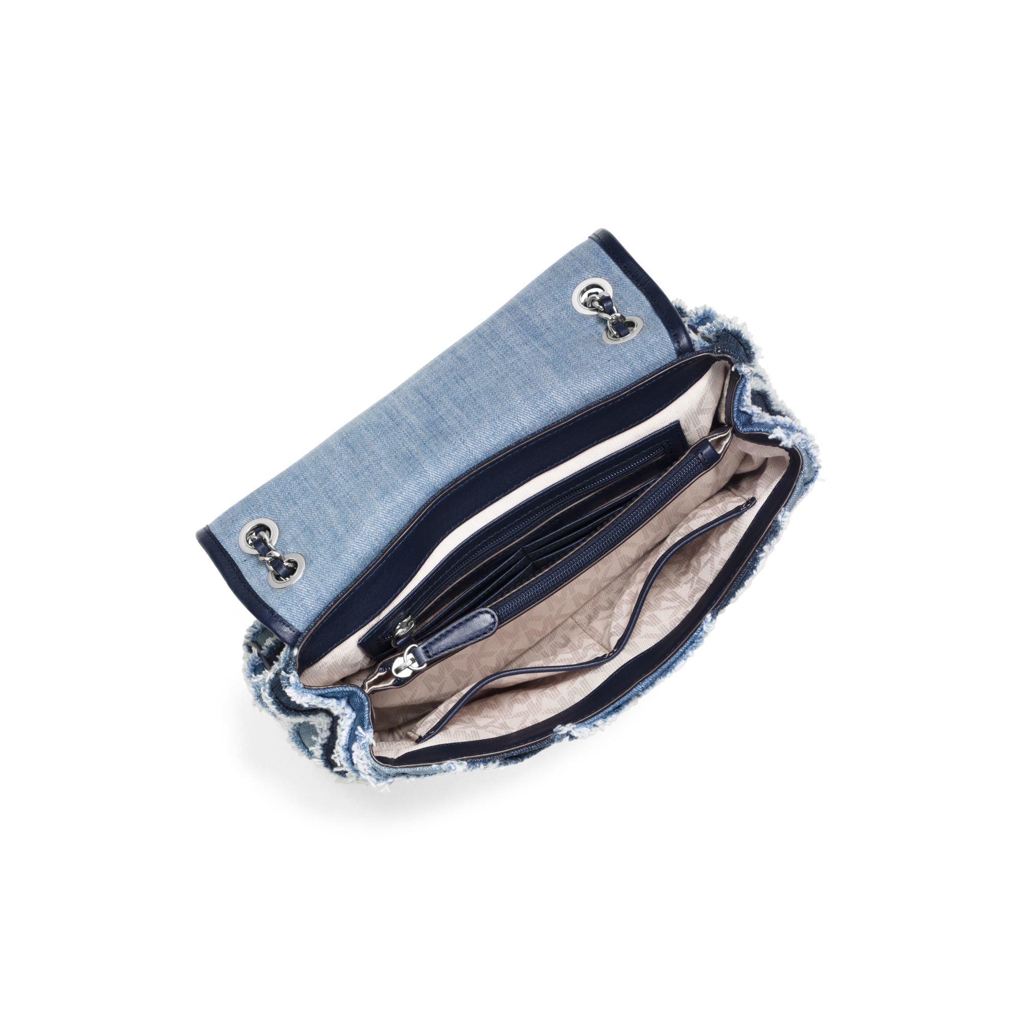 Lyst Michael Kors Sloan Large Denim Chevron Shoulder Bag