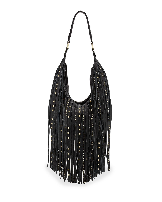 Ash Tyler Leather Fringe Hobo Bag in Gray | Lyst