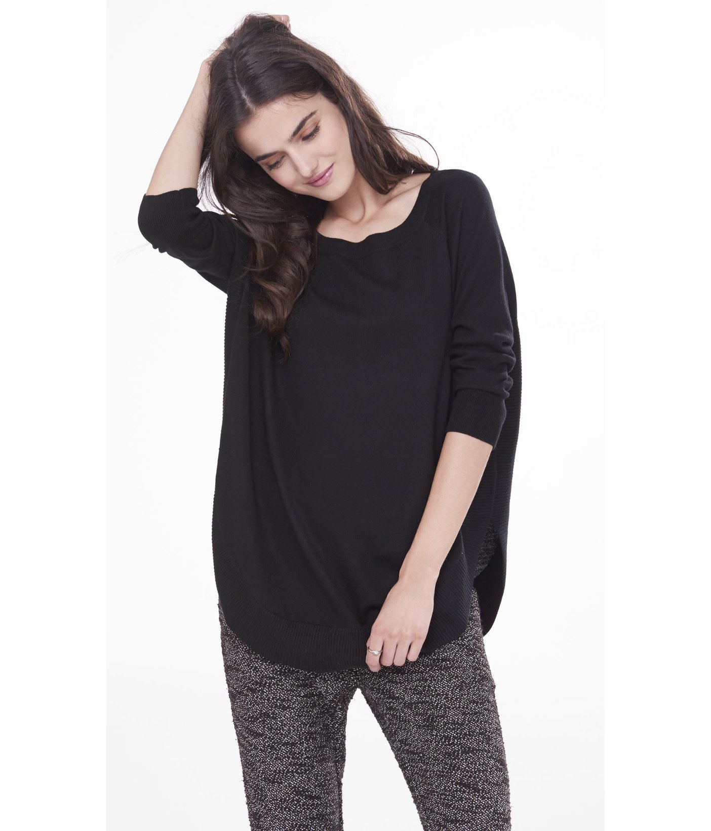 Express Extreme Circle Hem Tunic Sweater in Black | Lyst