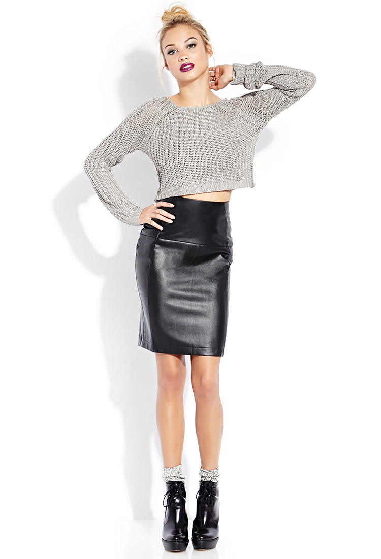 Forever 21 Sleek Faux Leather Pencil Skirt in Black | Lyst