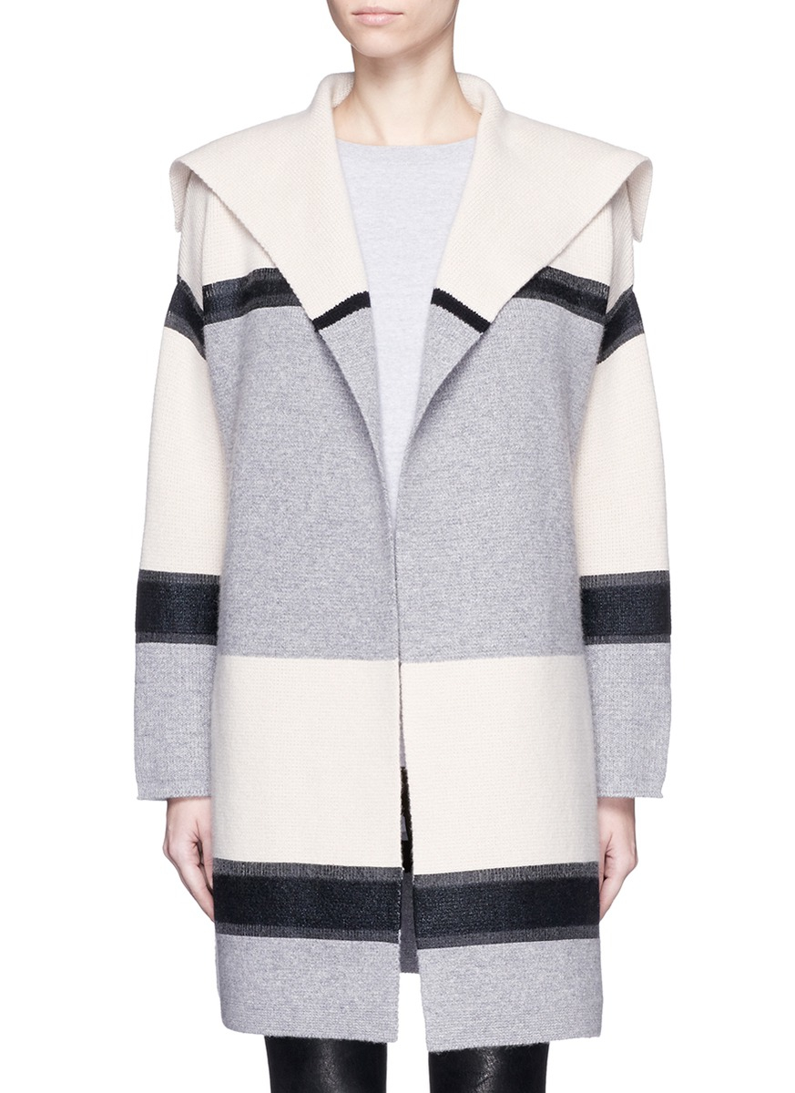 Vince Colourblock Foil Print Wool-cashmere Car Coat | Lyst