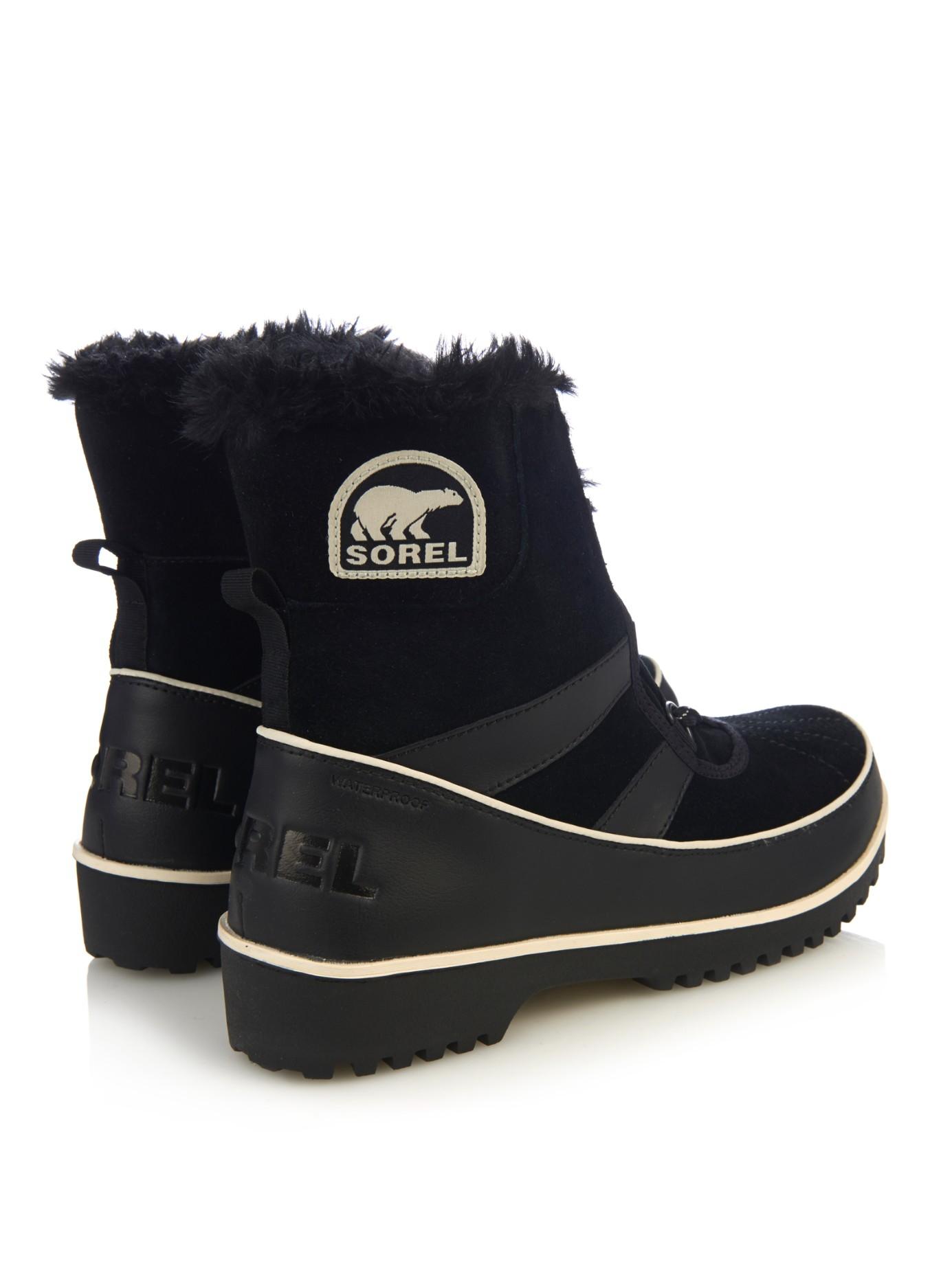 sorel tivoli ii waterproof suede boots in black lyst