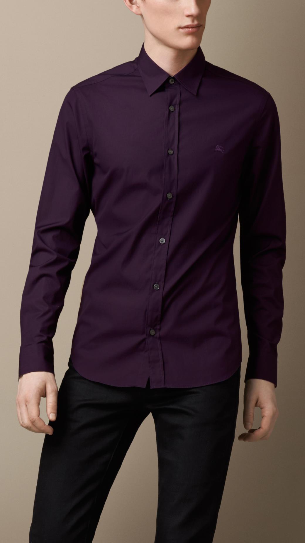 Lyst Burberry Check Detail Stretchcotton Shirt In Purple For Men