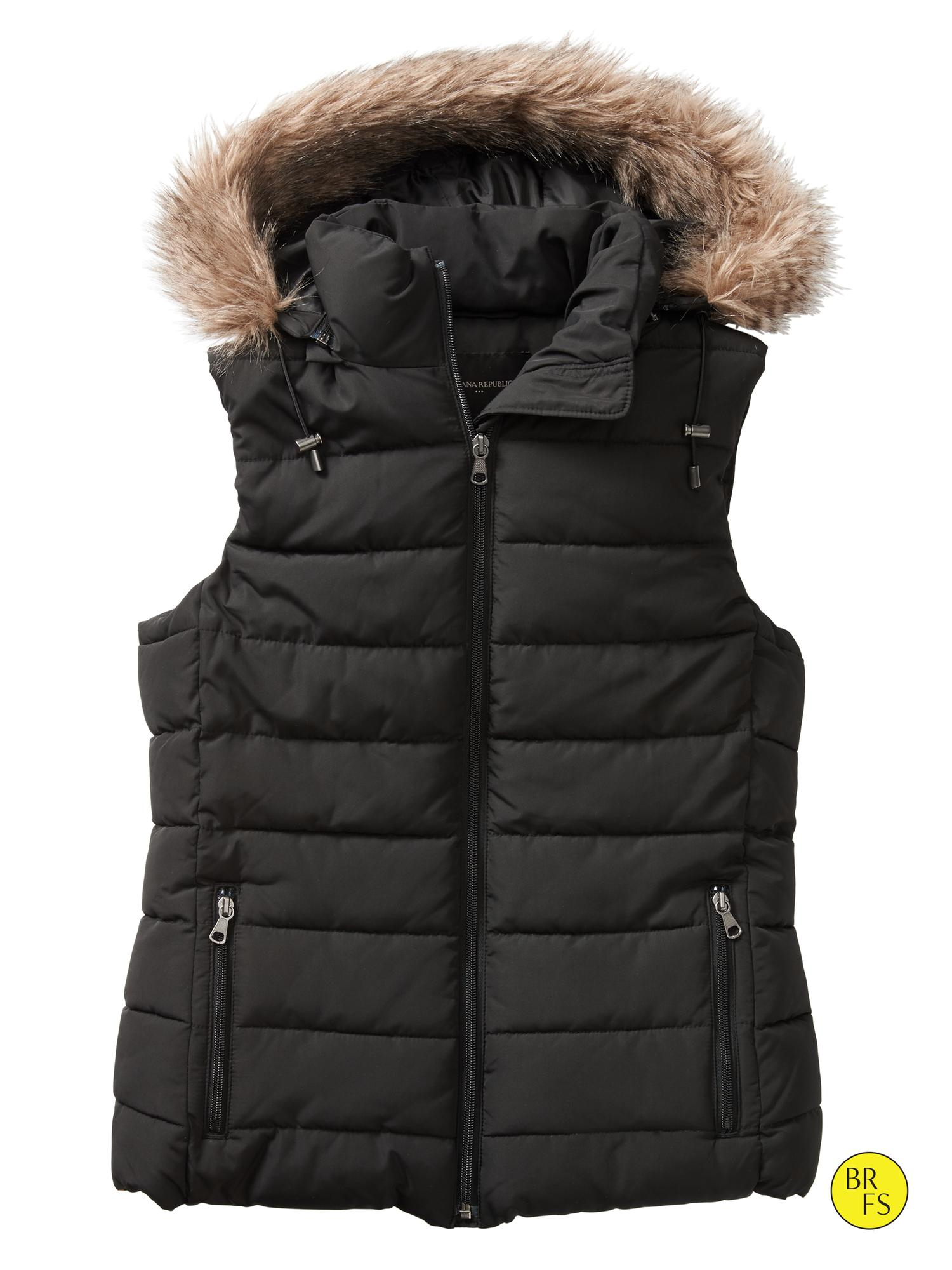 Banana Republic Factory Hooded Puffer Vest In Black Lyst