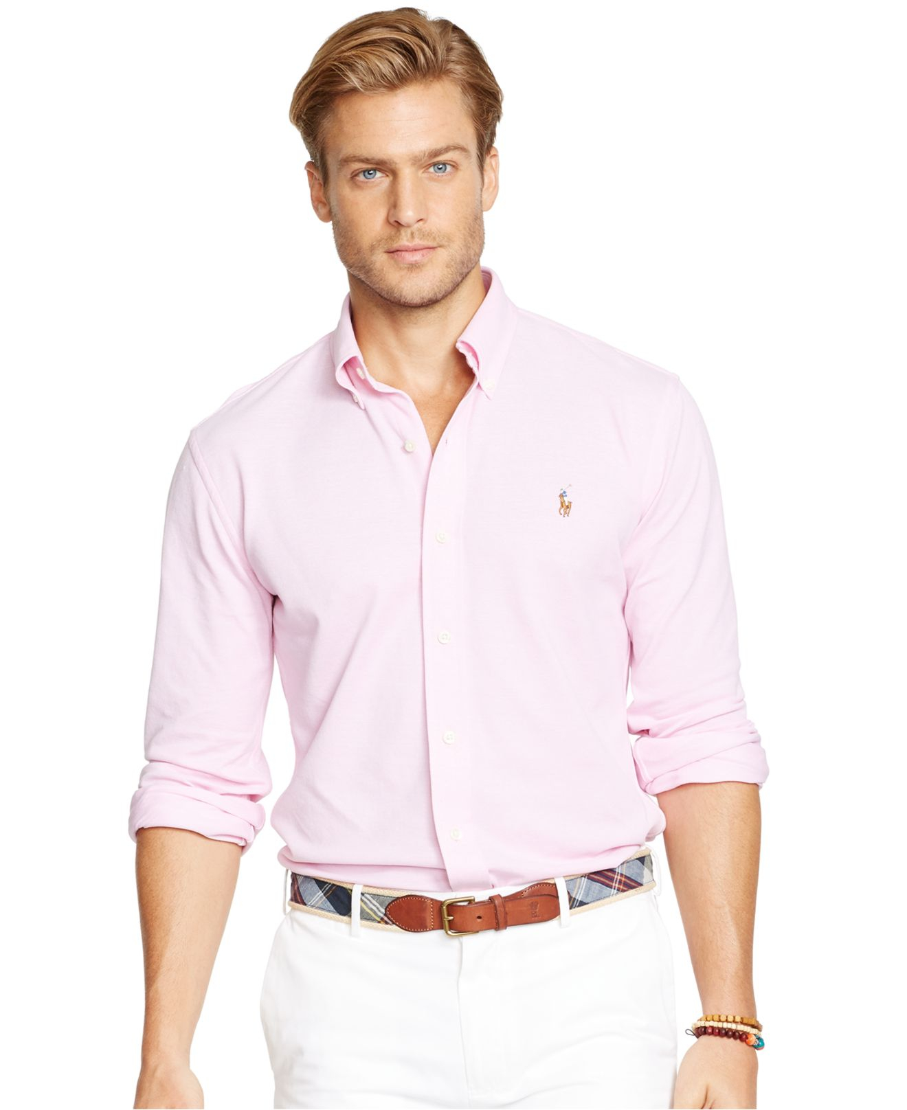 lyst polo ralph lauren oxford piqu sport shirt in pink. Black Bedroom Furniture Sets. Home Design Ideas