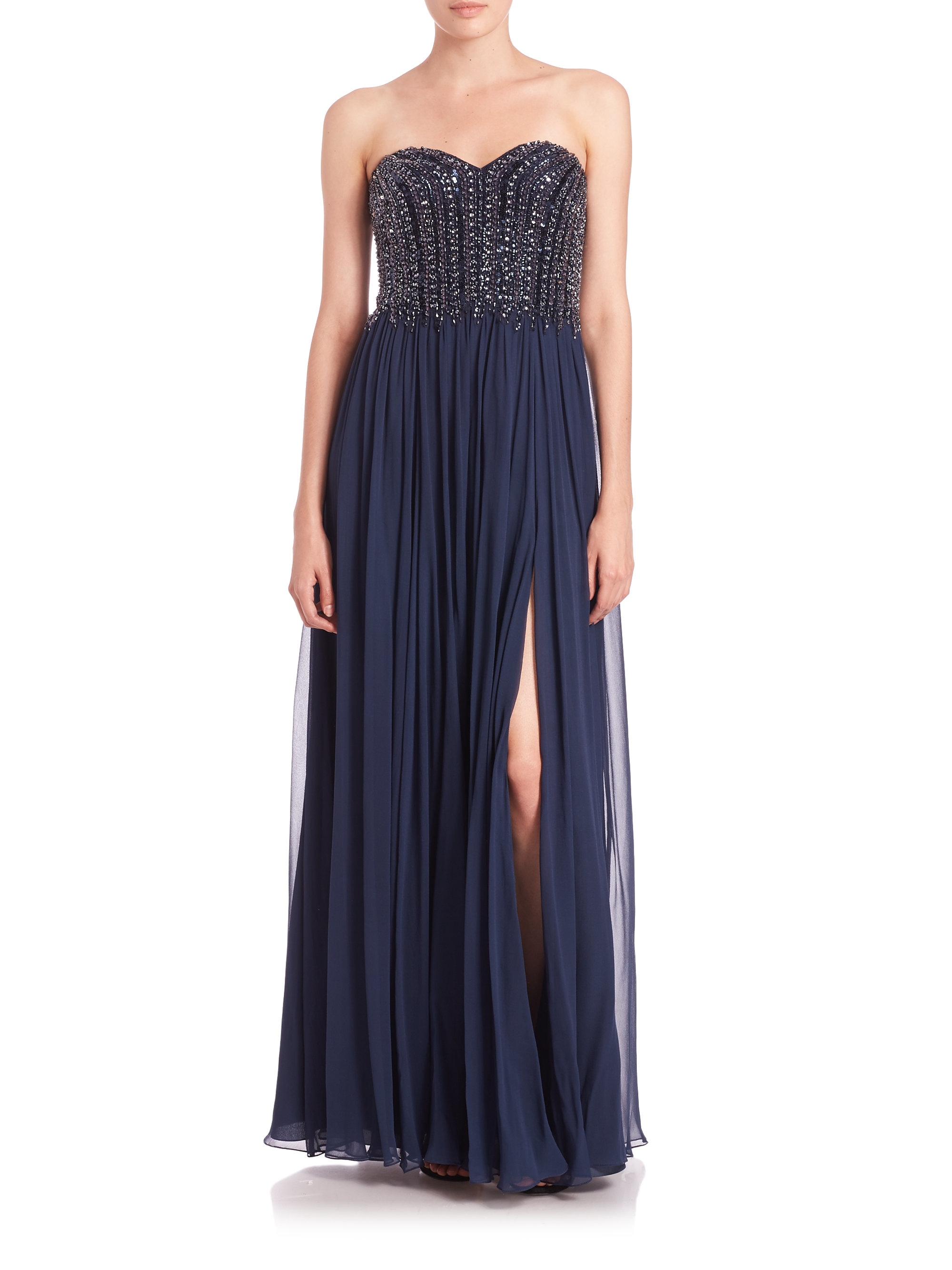 687f4a8039f Lyst - David Meister Strapless Beaded-bodice Chiffon Gown in Blue