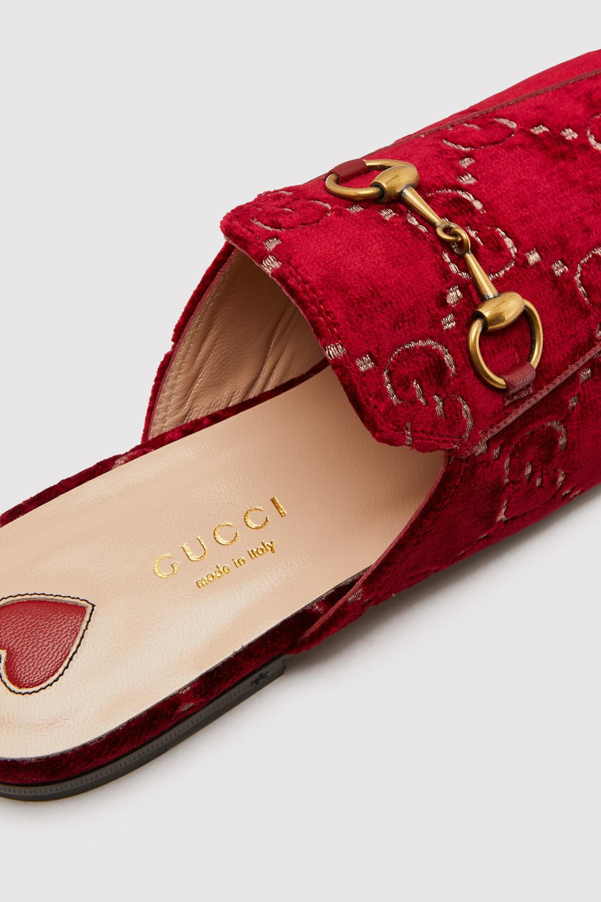 ca68005ff Gucci Princetown GG Velvet Slippers in Red - Lyst
