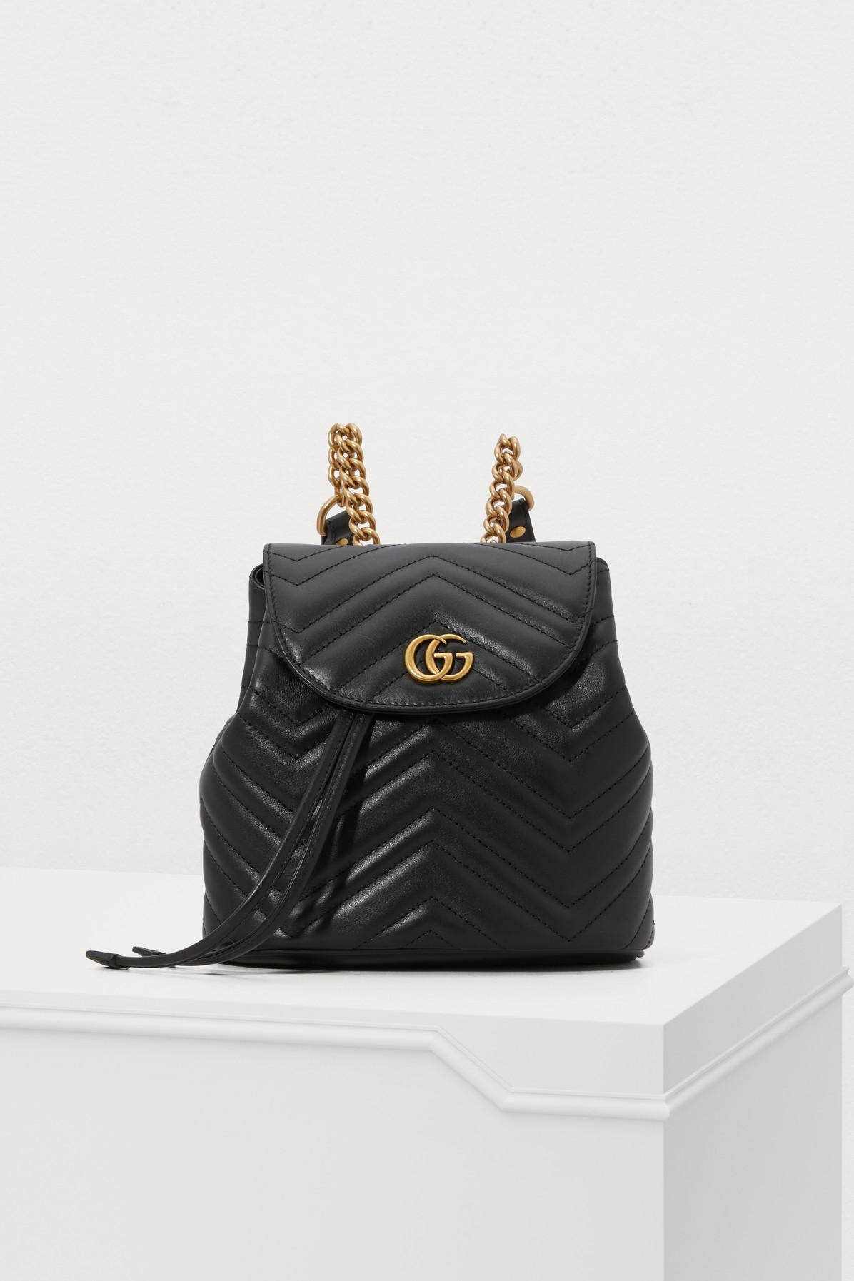 780a7facba9f Lyst - Gucci GG Marmont Small Backpack in Black