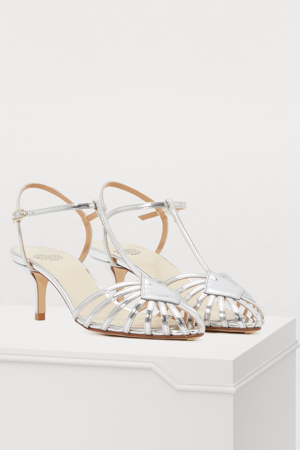 a15b3c84ced Francesco Russo - Metallic Open Silver Sandals - Lyst. View fullscreen