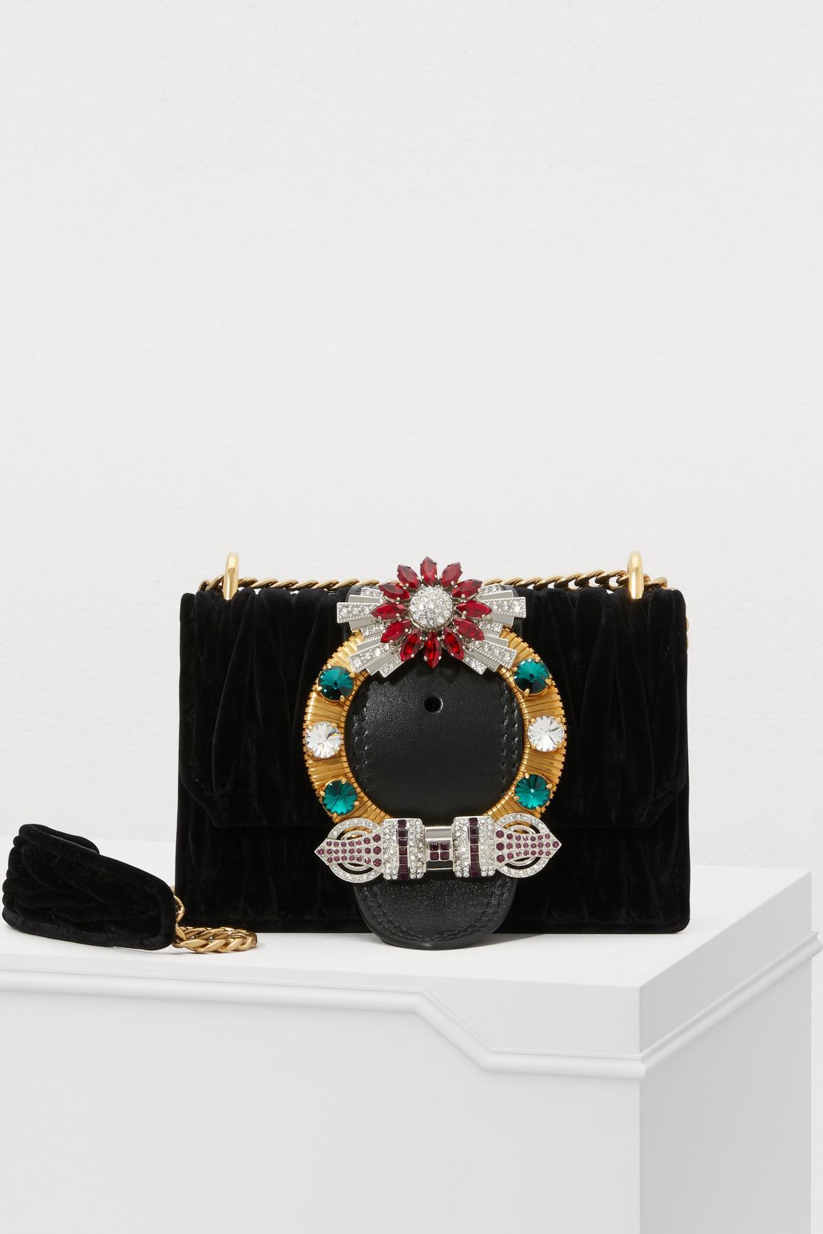 165bc0500c0a Lyst - Miu Miu Miu Lady Velvet Crossbody Bag in Black