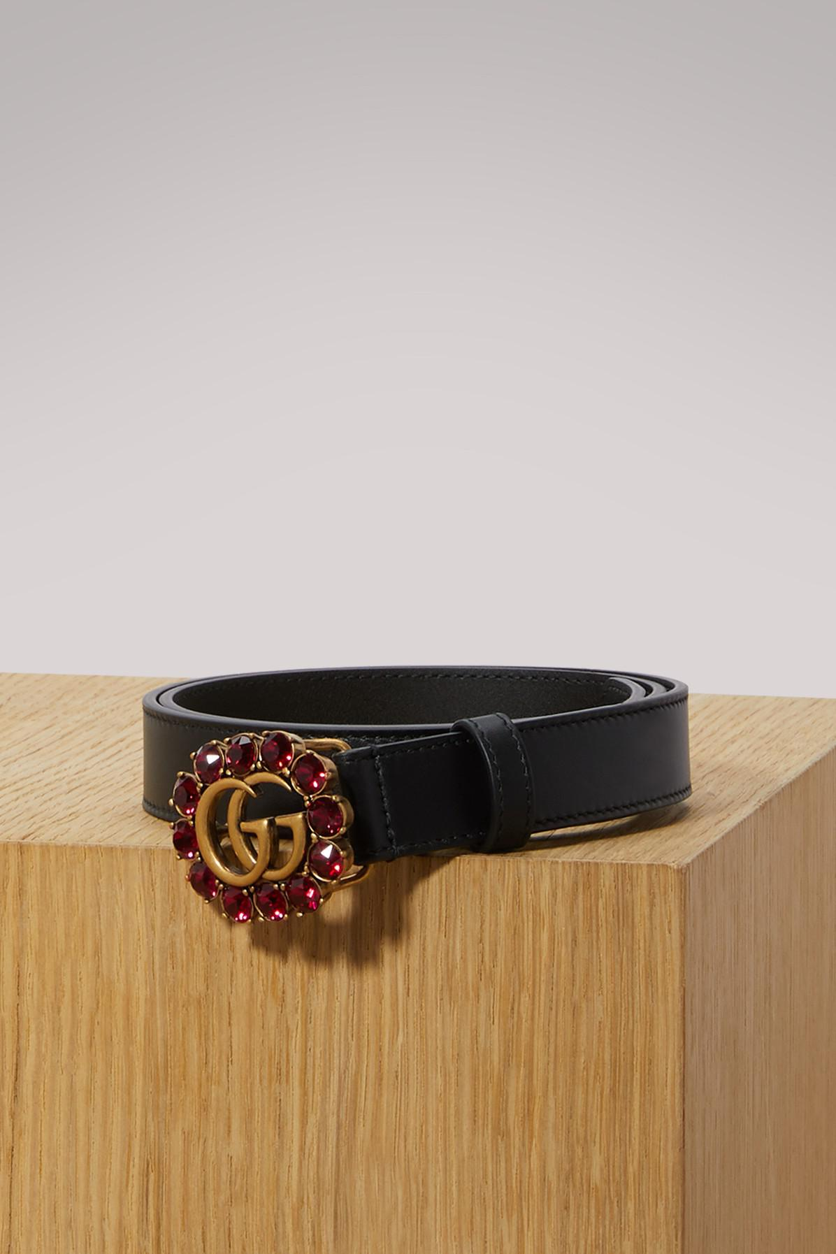 a231137ed69 Gucci Leather Belt With Double G And Crystals in Black - Lyst