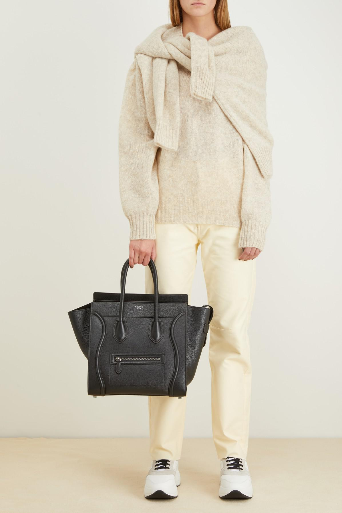 bc6925a03b0e Lyst - Céline Mini Luggage Handbag In Drummed Calfskin in Black