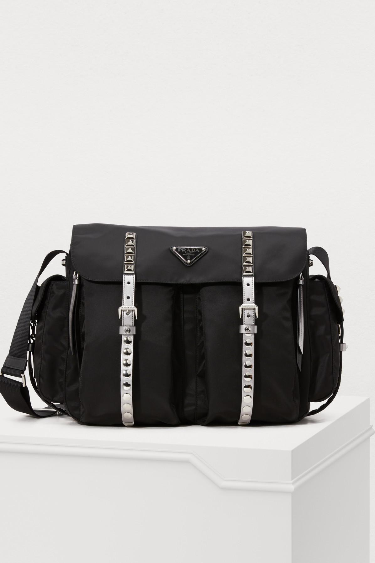 320dcb687c84 Prada Nylon Messenger Bag in Black - Lyst