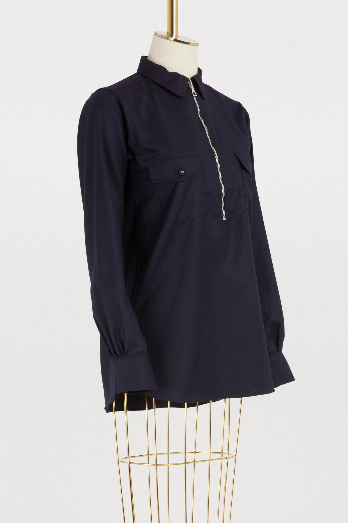 8fe121410158d Lyst - Officine Generale Judith Wool Shirt in Blue