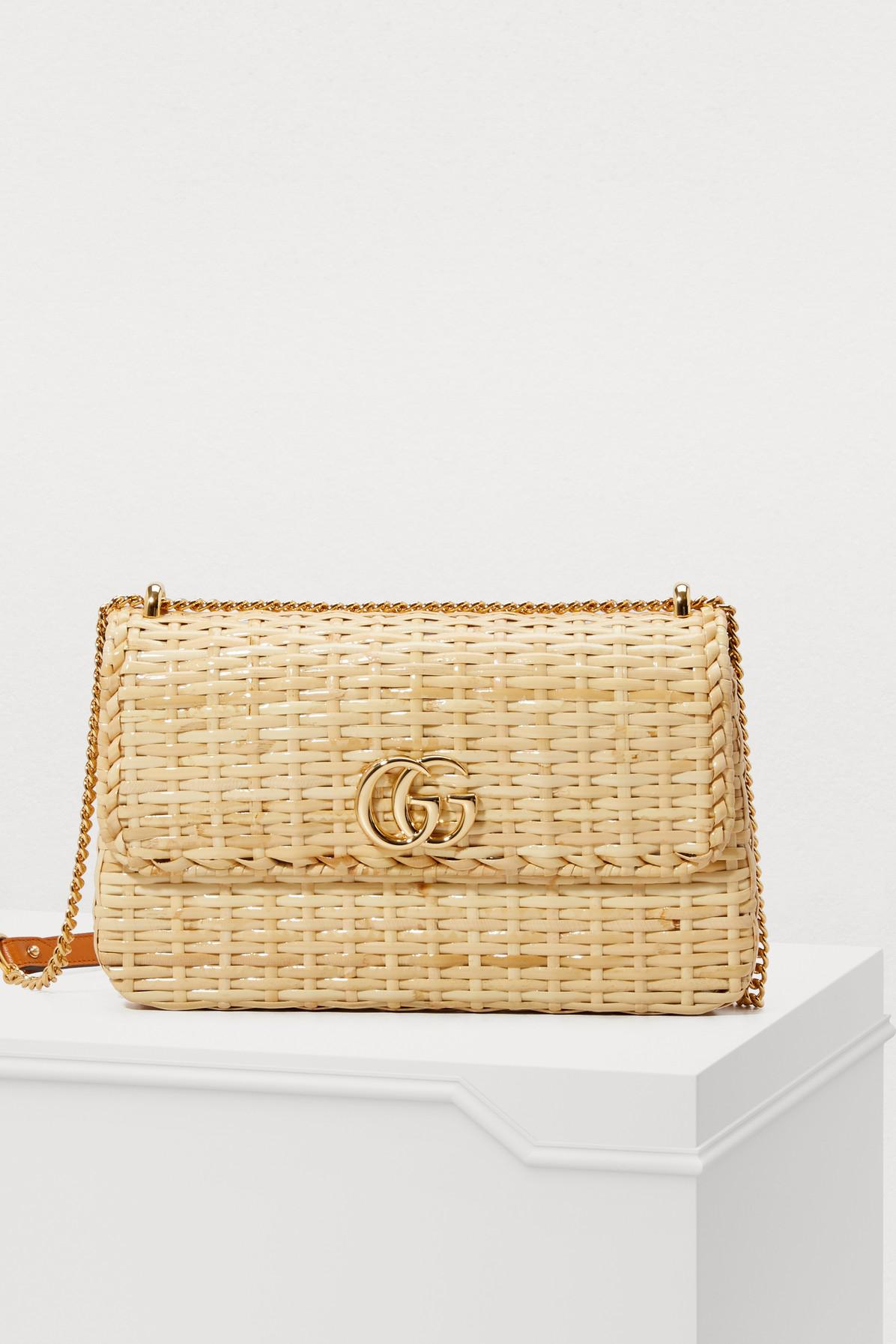 c8958faa2 Gucci Cestino Straw Shoulder Bag in Natural - Lyst