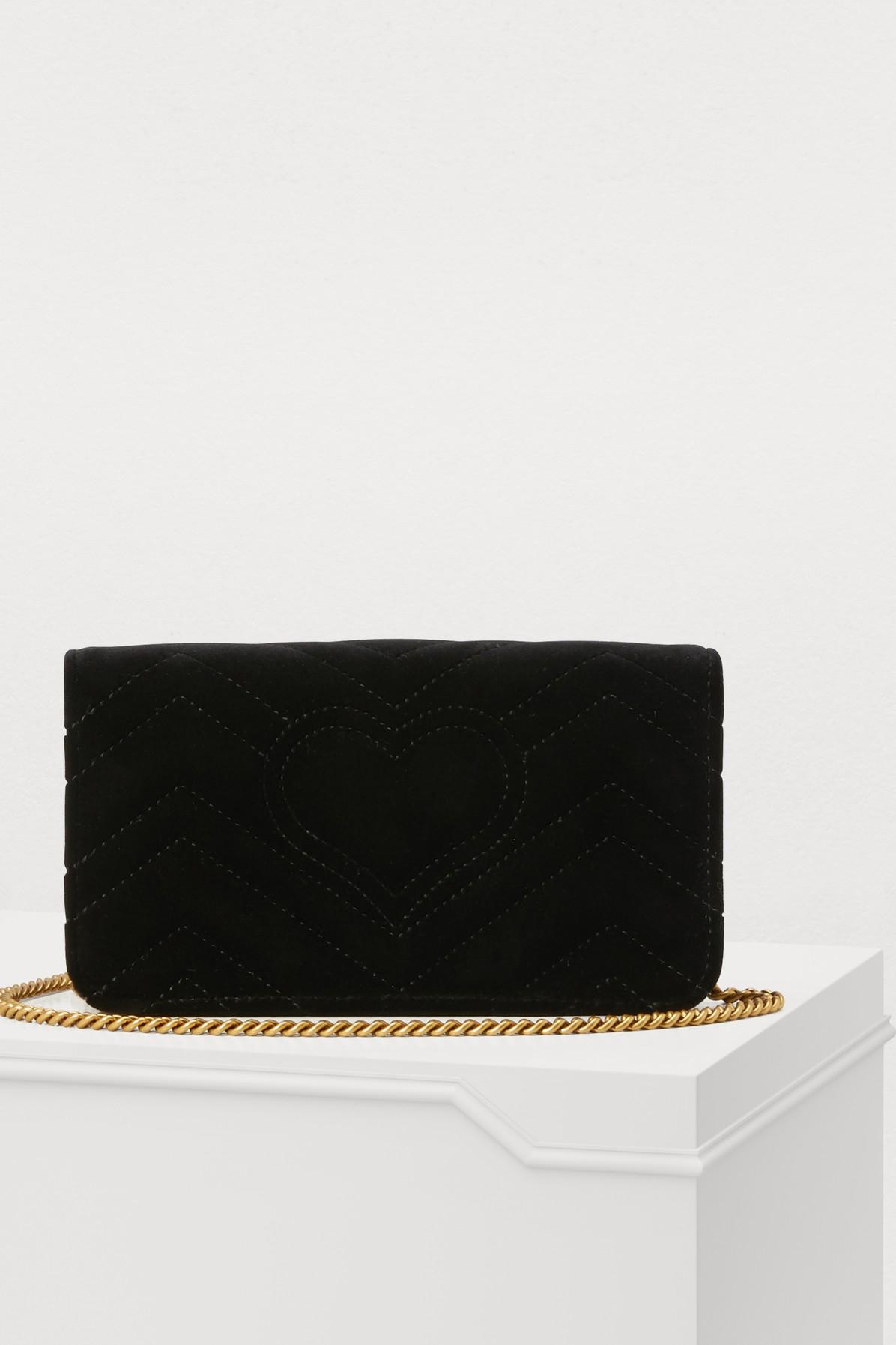 ef63faafe6f Gucci - Black GG Marmont Velvet Supermini Bag - Lyst. View fullscreen