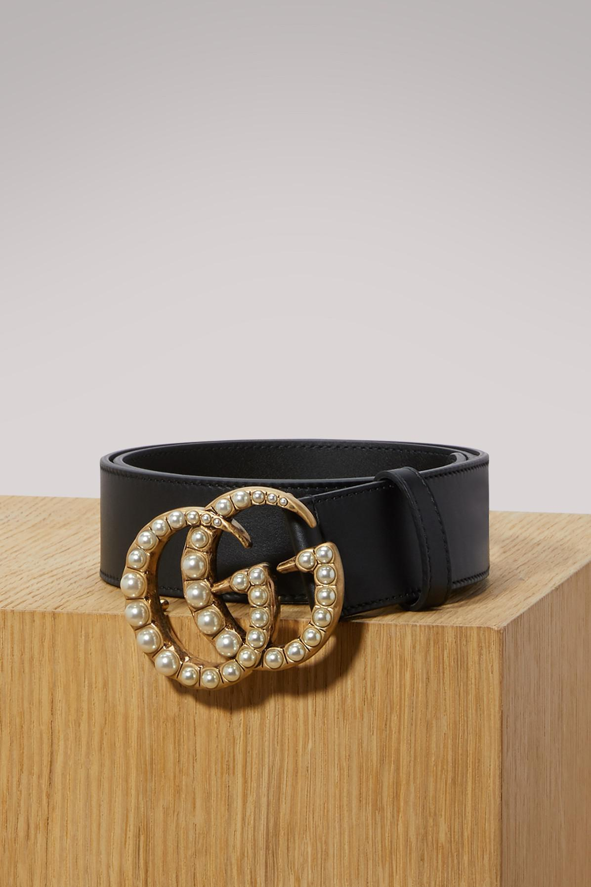 95586d533f4 Lyst - Gucci Leather Belt With Pearl Double G in Black