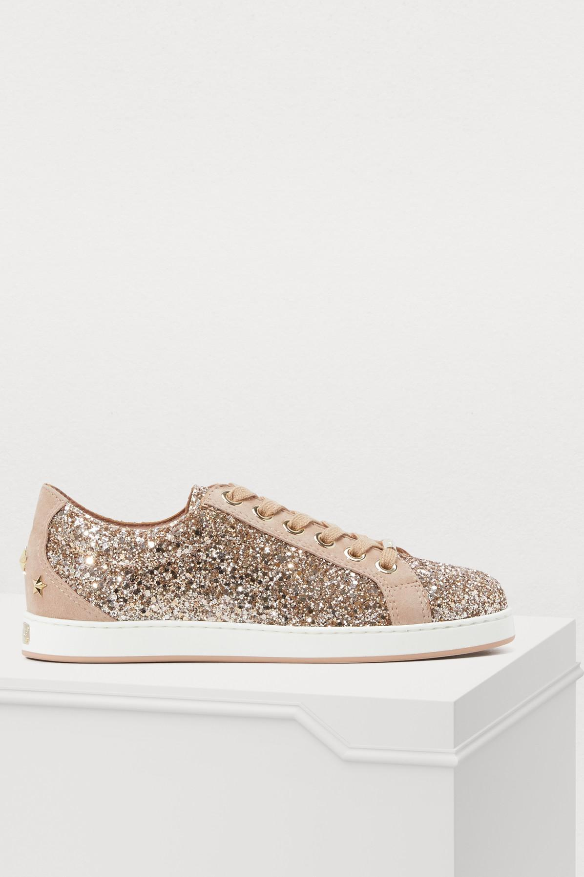 2154e75d8753 Jimmy Choo Cash Sneakers in Pink - Save 45.4172366621067% - Lyst