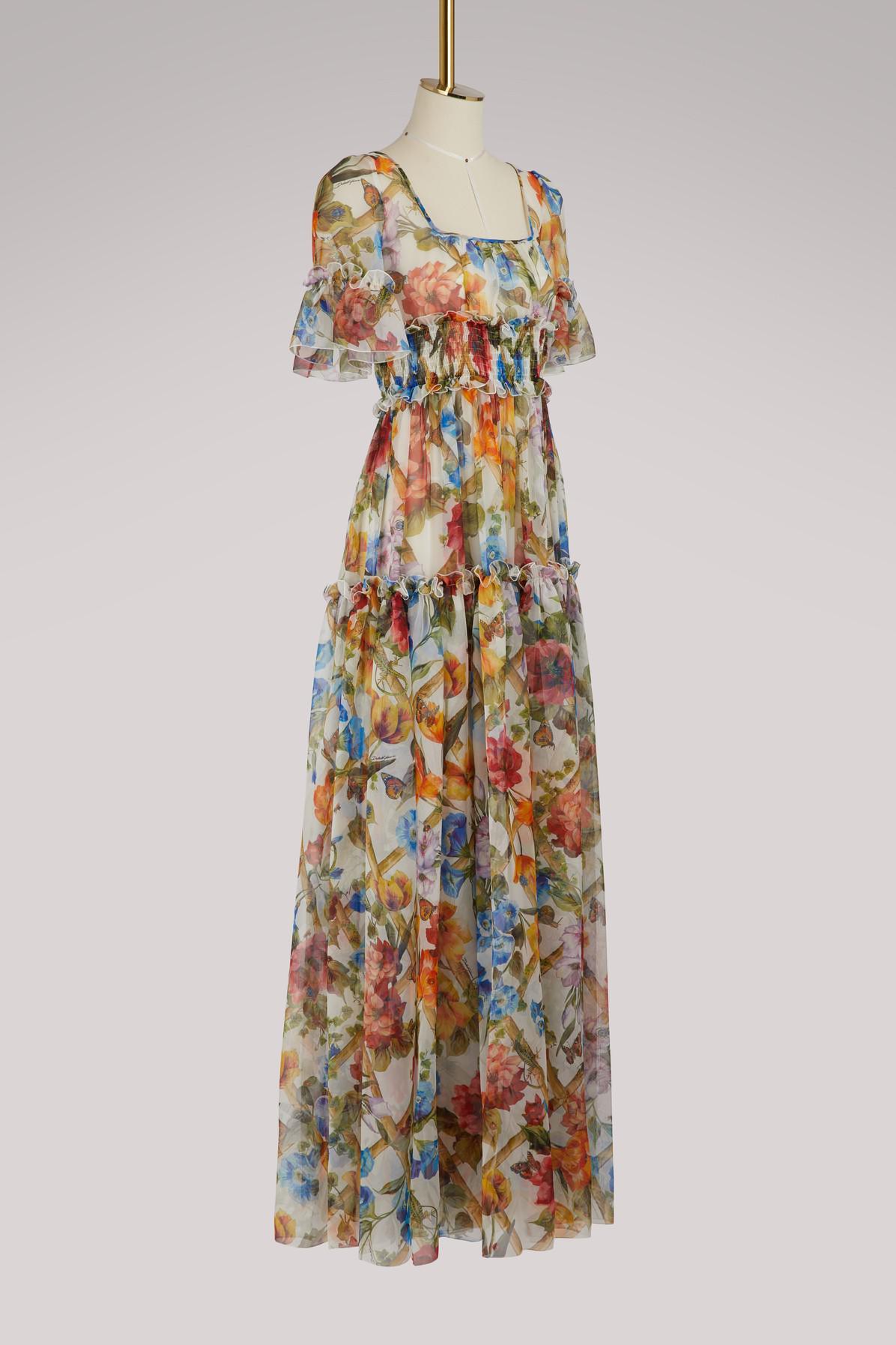 ed9d78c4071 Dolce   Gabbana Bamboo Print Silk Dress in White - Lyst