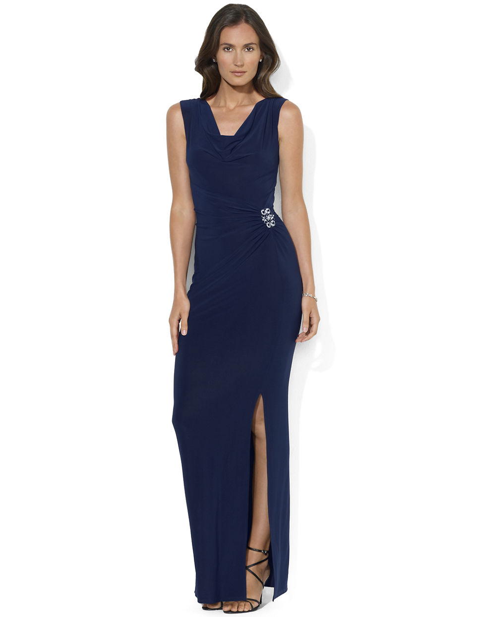 f3d0c989123 Lauren by Ralph Lauren Sleeveless Cowlneck Matte Jersey Evening Gown ...