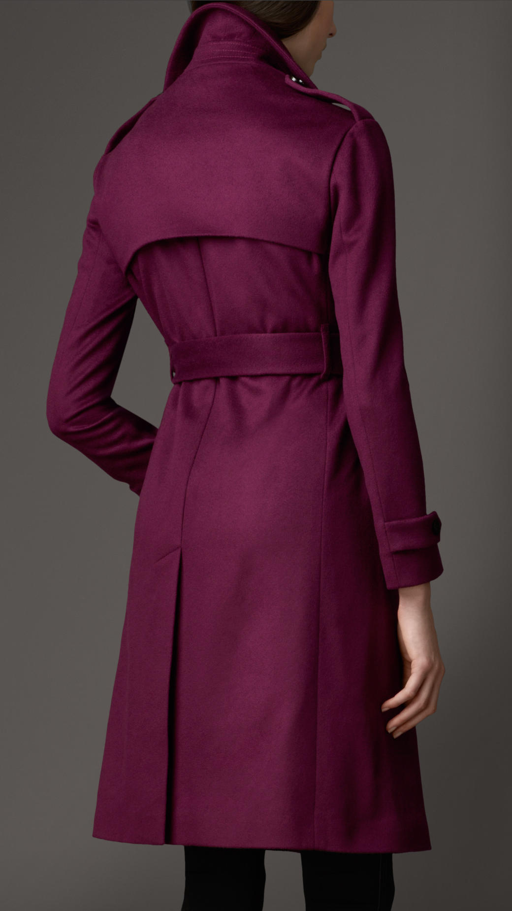 Burberry Long Double Cashmere Trench Coat In Purple Lyst