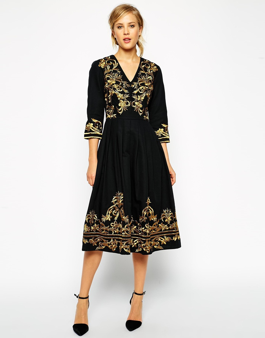 Lyst asos premium midi dress with metallic embroidery in