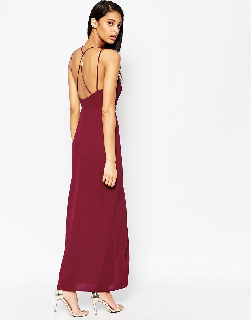 Asos Triangle Bar Spaghetti Strap Maxi Dress In Purple Lyst
