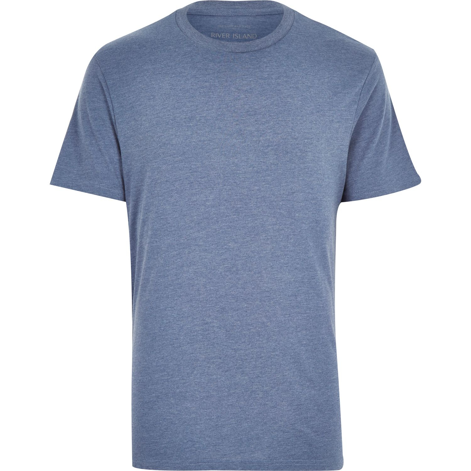 River Island Blue Crew Neck T Shirt In Blue For Men Lyst