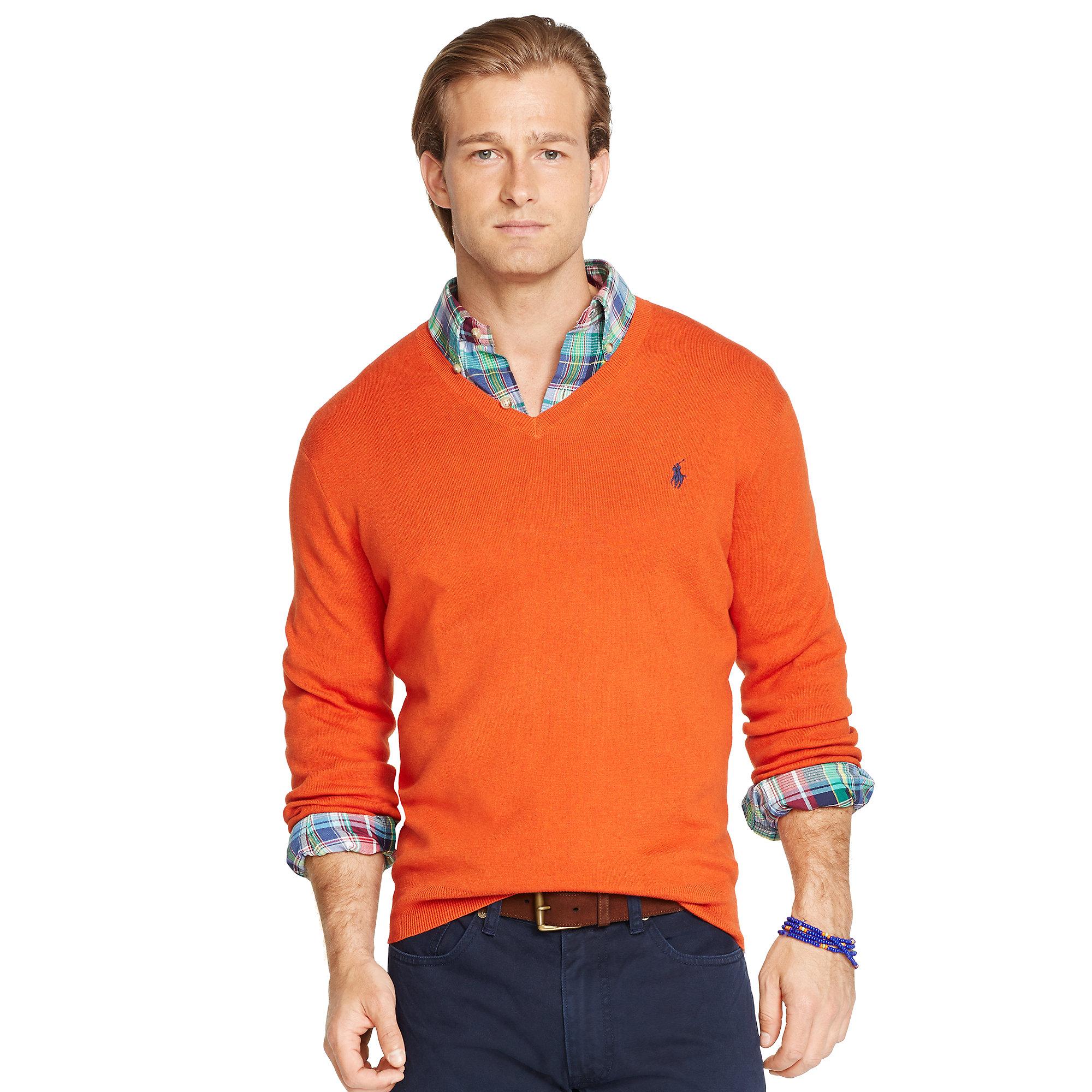 e75d4005e920 Lyst - Polo Ralph Lauren Pima Cotton V-neck Sweater in Orange for Men